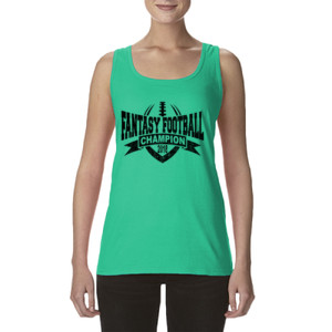 2018 Fantasy Football Champion V Outline - Ladies' Softstyle®  4.5 oz. Racerback Tank (S)