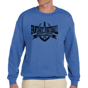 2018 Fantasy Football Champion V Outline - Adult Heavy Blend Heather Royal or Red 60/40 Fleece Crew (S)