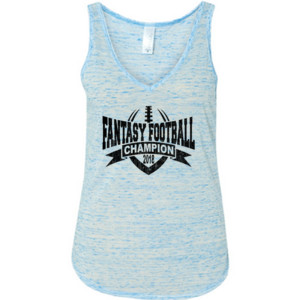 2018 Fantasy Football Champion V Outline - Ladies' Flowy V-Neck Tank