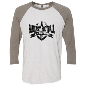 2018 Fantasy Football Champion V Outline - (S) Unisex Tri-Blend Three-Quarter Sleeve Baseball Raglan Tee