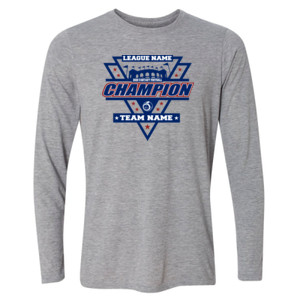 Fantasy Football Champion Stadium/Shield - Light Long Sleeve Ultra Performance Active Lifestyle T Shirt