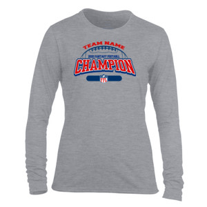 Fantasy Football Champion - Football Outline FFL - Light Ladies Long Sleeve Ultra Performance Active Lifestyle T Shirt