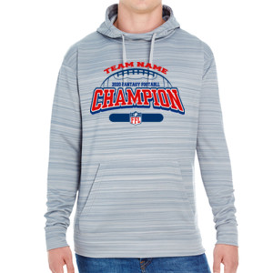 Fantasy Football Champion - Football Outline FFL - JAmerica Unisex Poly Fleece Striped Pullover Hoodie