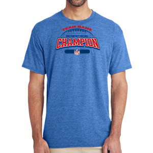 Fantasy Football Champion - Football Outline FFL - (S) Adult 5.5 oz Cotton Poly (35/65) T-Shirt