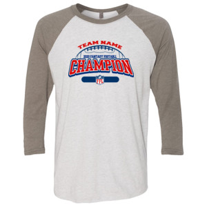 Fantasy Football Champion - Football Outline FFL - (S) Unisex Tri-Blend Three-Quarter Sleeve Baseball Raglan Tee