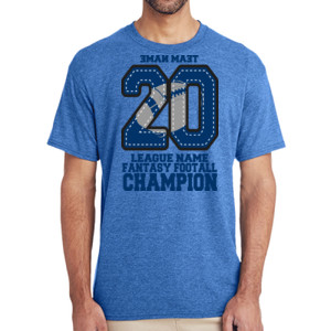 Fantasy Football Champion '18 FFL - Blue - (S) Adult 5.5 oz Cotton Poly (35/65) T-Shirt