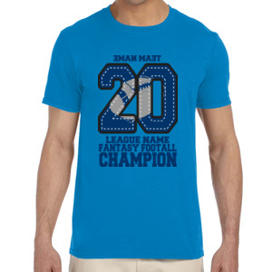 Fantasy Football Champion '18 FFL - Blue - Adult Softstyle® 4.5 oz. Heather Color T-Shirt (S)