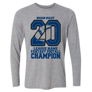 Fantasy Football Champion '18 FFL - Blue - Light Long Sleeve Ultra Performance Active Lifestyle T Shirt