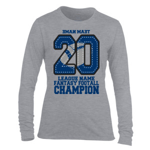 Fantasy Football Champion '18 FFL - Blue - Light Ladies Long Sleeve Ultra Performance Active Lifestyle T Shirt