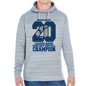 Fantasy Football Champion '18 FFL - Blue - JAmerica Unisex Poly Fleece Striped Pullover Hoodie
