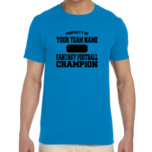 Custom Property of Fantasy Football Champion - Adult Softstyle® 4.5 oz. Heather Color T-Shirt (S)