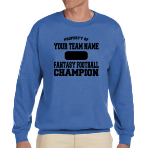 Custom Property of Fantasy Football Champion - Adult Heavy Blend Heather Royal or Red 60/40 Fleece Crew (S)