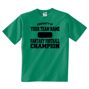 Custom Property of Fantasy Football Champion - Adult 5 oz. HD Cotton™ T-Shirt (S)