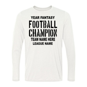 Fantasy Football Champion with League  - Light Long Sleeve Ultra Performance 100% Performance T Shirt