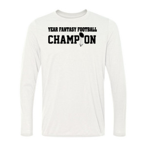 Custom Fantasy Football Championship T-shirt - Light Long Sleeve Ultra Performance 100% Performance T Shirt