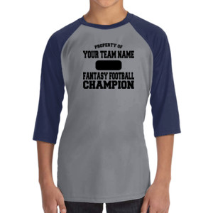 Custom Property of Fantasy Football Champion - ALO 100% Performance Youth Baseball T-Shirt