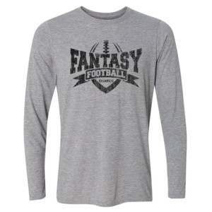 Fantasy Football Champion V Outline - Light Youth Long Sleeve Ultra Performance Active Lifestyle T Shirt