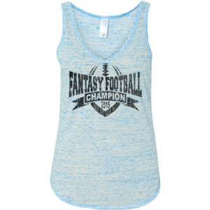 2015 Fantasy Football Champion V Outline - Ladies' Flowy V-Neck Tank