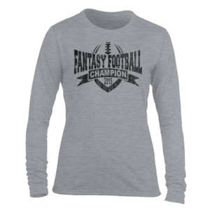 2015 Fantasy Football Champion V Outline - Light Ladies Long Sleeve Ultra Performance Active Lifestyle T Shirt