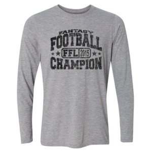 2015 Fantasy Football Champion H - Light Youth Long Sleeve Ultra Performance Active Lifestyle T Shirt