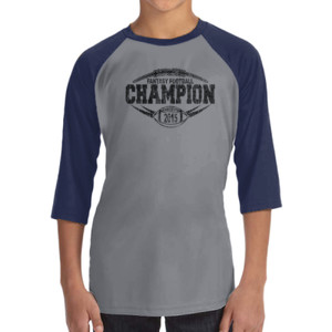 2015 Fantasy Football Champion Outline - ALO 100% Performance Youth Baseball T-Shirt