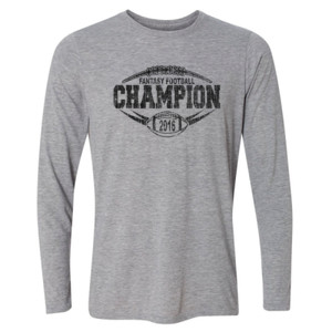 2016 Fantasy Football Champion Outline - Light Youth Long Sleeve Ultra Performance Active Lifestyle T Shirt