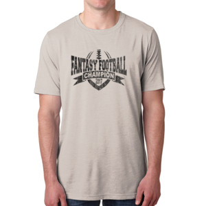 2017 Fantasy Football Champion V Outline - Men's Poly/Cotton Short-Sleeve Crew Tee