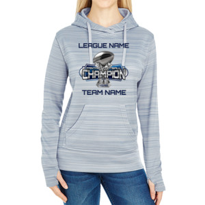 Fantasy Football Champion Large Trophy - JAmerica Ladies Poly Fleece Striped Pullover Hoodie