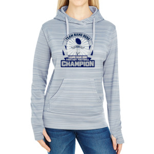 Fantasy Football Championship Design - JAmerica Ladies Poly Fleece Striped Pullover Hoodie