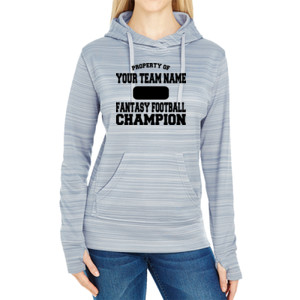 Custom Property of Fantasy Football Champion - JAmerica Ladies Poly Fleece Striped Pullover Hoodie