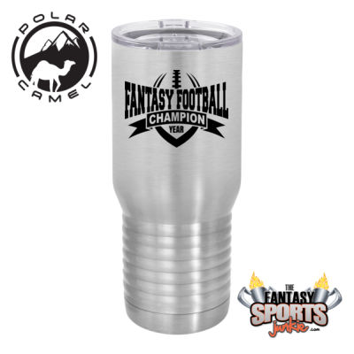 Fantasy Football Champion with Year Vertical Outline - Polar Camel 20 oz. Tall Stainless Steel Vacuum Insulated Tumbler (FSJ) Thumbnail