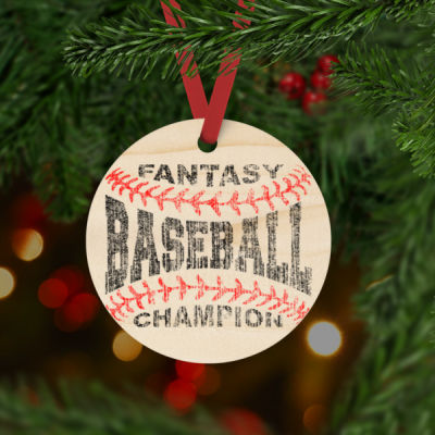 Fantasy Baseball Champion Laces - Natural Wood Round Christmas Ornament - Natural Wood Round Christmas Ornament Thumbnail