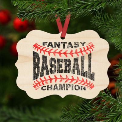 Fantasy Baseball Champion Laces  - Natural Wood Benelux Christmas Ornament Thumbnail