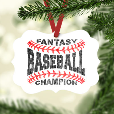 Fantasy Baseball Champion Laces  - White Aluminum Benelux Christmas Ornament Thumbnail