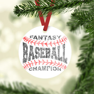 Fantasy Baseball Champion Laces - Aluminum Round Christmas Ornament Thumbnail