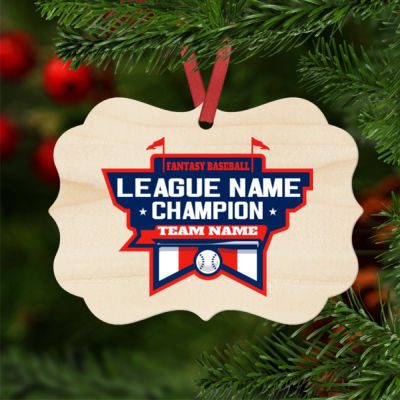 Fantasy Baseball Champion Stadium - Natural Wood Benelux Christmas Ornament Thumbnail