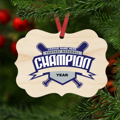 Custom Fantasy Baseball Champion T-shirt Bats 2 Blue - Natural Wood Benelux Christmas Ornament Thumbnail