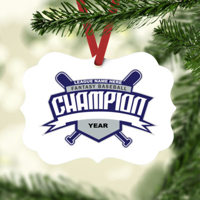 Custom Fantasy Baseball Champion T-shirt Bats 2 Blue - White Aluminum Benelux Christmas Ornament Thumbnail