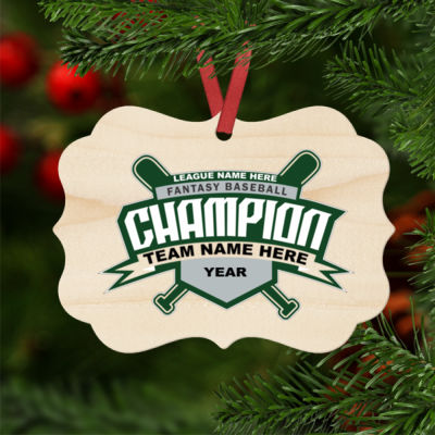 Custom Fantasy Baseball Champion T-shirt Bats 2 Green - Natural Wood Benelux Christmas Ornament Thumbnail