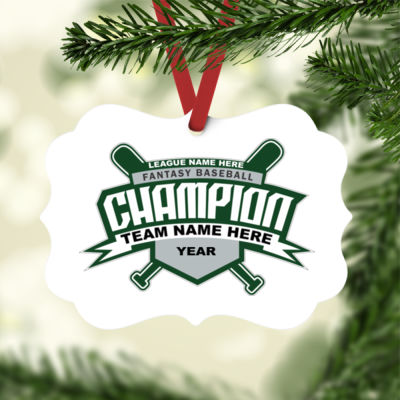 Custom Fantasy Baseball Champion T-shirt Bats 2 Green - White Aluminum Benelux Christmas Ornament Thumbnail