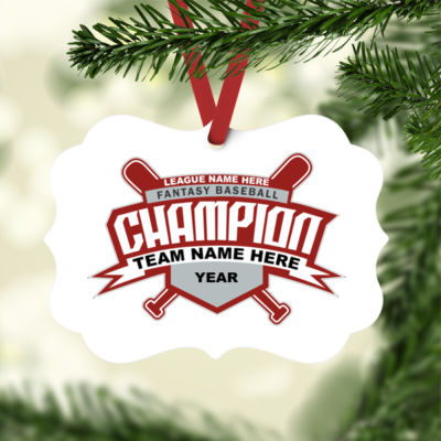 Custom Fantasy Baseball Champion T-shirt Bats 2 Red - White Aluminum Benelux Christmas Ornament Thumbnail